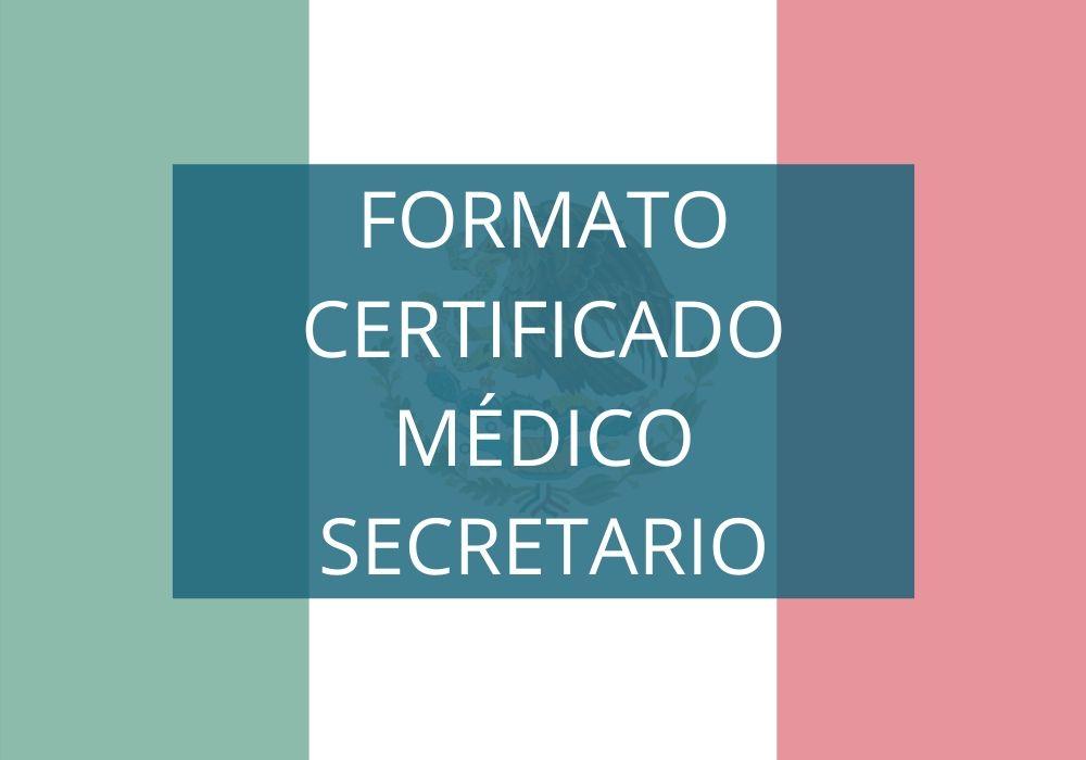 Formato Certificado Médico Secretario Salud