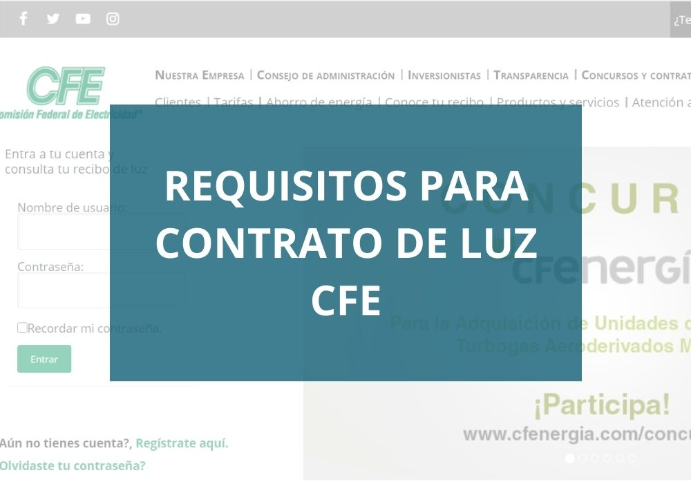Requisitos para contrato de luz CFE
